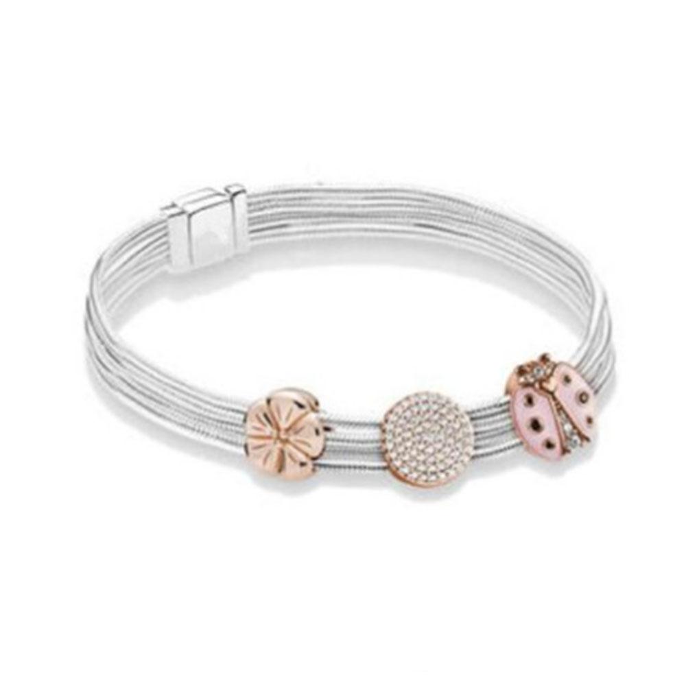 Voroco 925 Sterling Silver Charm Bead mousseux Pendentif en forme de cœur pour femmes Bracelet