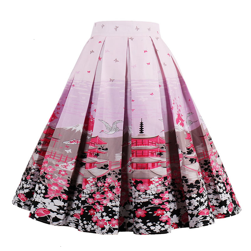 Kostlish Retro Print Flower Summer Skirts Womens High Waist Vintage Skirt Elegant A-Line Midi Women Skirt Plus Size XXL 22 (12)