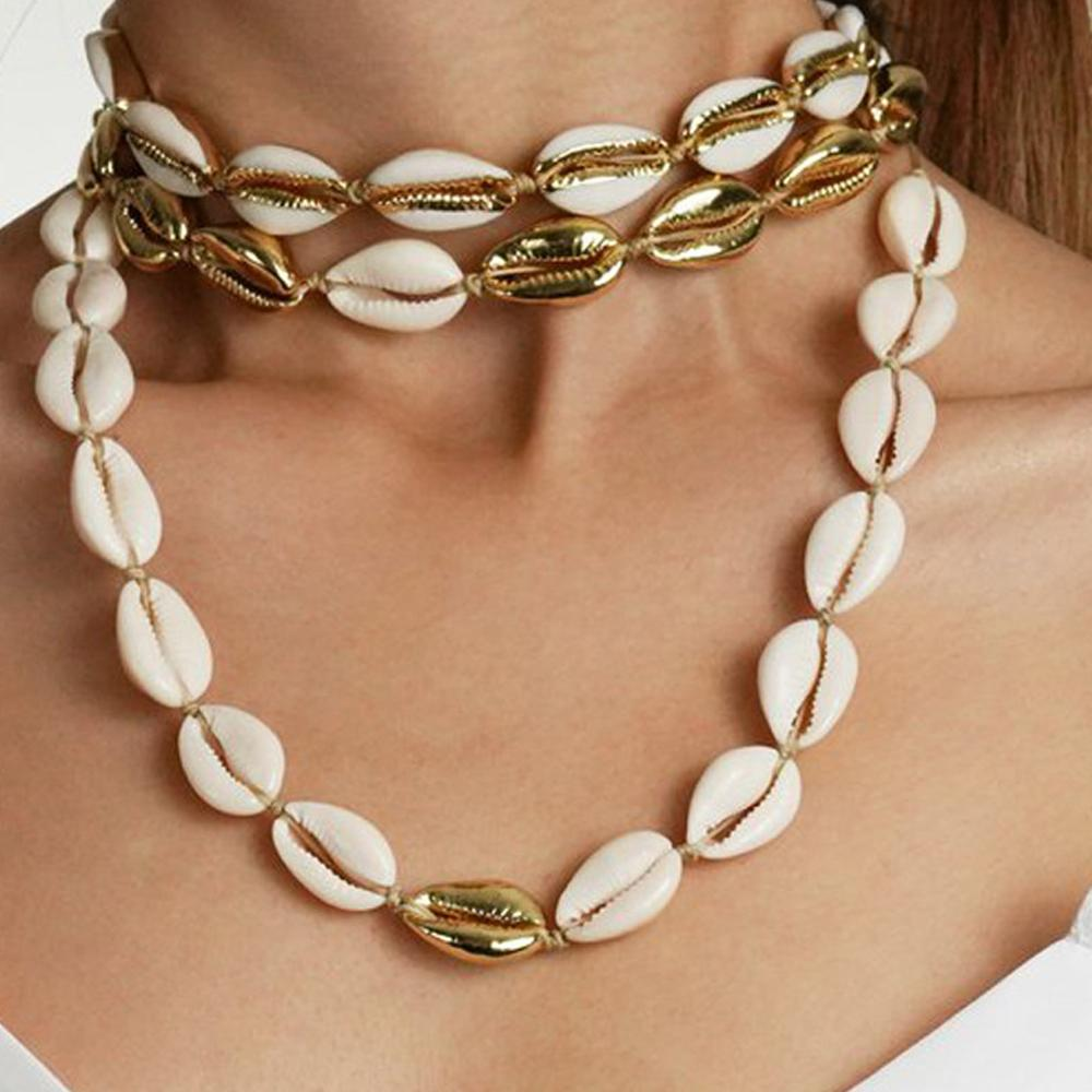 Women Beach Sea Shell Handwork Pendant  Cowrie Necklace Gift Bohemian Choker