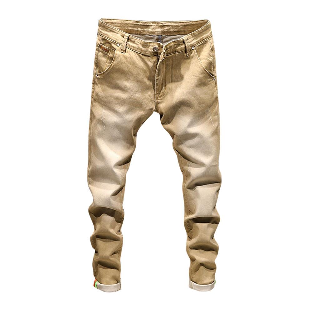 Doudoulu 2018 Men's Casual Autumn Denim Cotton Vintage Wash Hip Hop Work Trousers Jeans Pants Embroidered Flower Jeans Mens #ss Y19072301