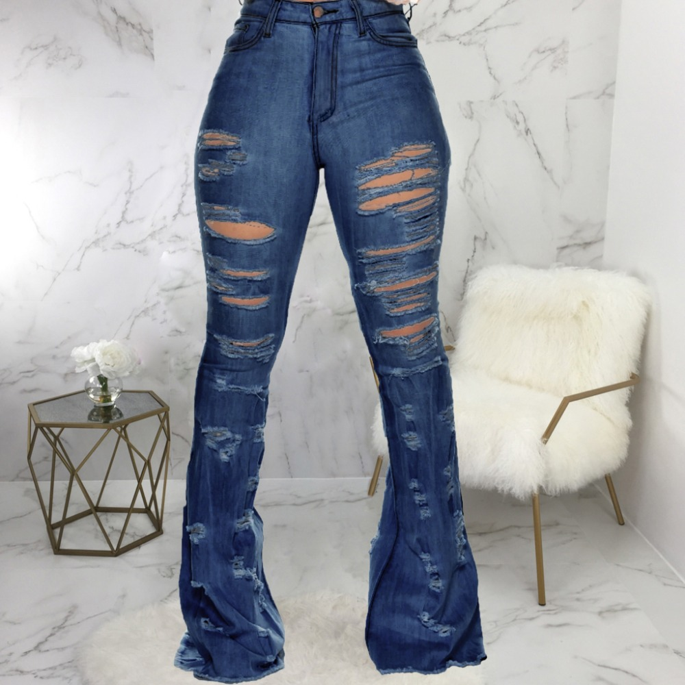 New Design fashion women Blue Color Jean Boot Cut Pants Casual Street Lady Long Denim Pants Sexy Club Wide Leg Jeans (14)