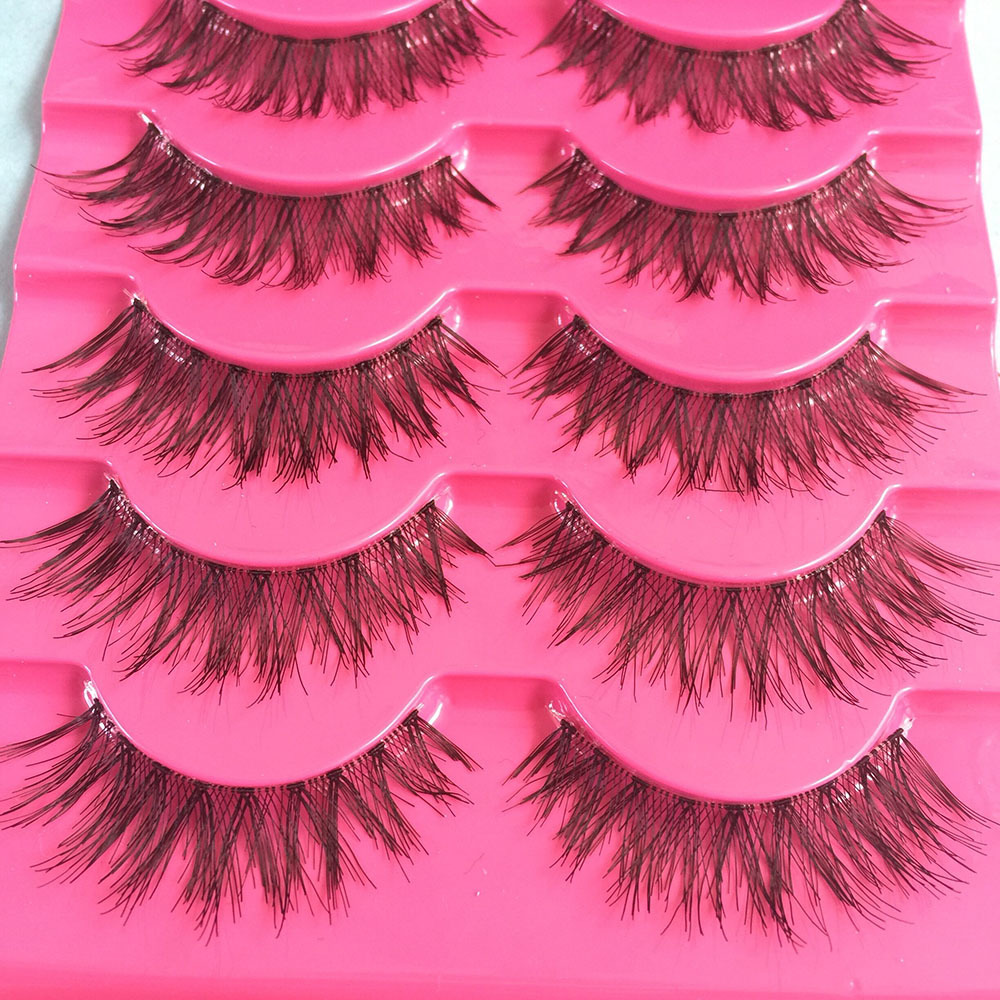 Handmade Natural Long Cross False Eyelashes Soft Lashes Makeup Thick Fake False Eyelashes Extension Tools