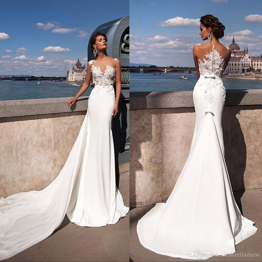 Sexy Summer Beach Mermaid Wedding Dresses 2018 Julie Vino Bateau Neckline Lace Appliques Beaded Chapel Train Bridal Wedding Gowns