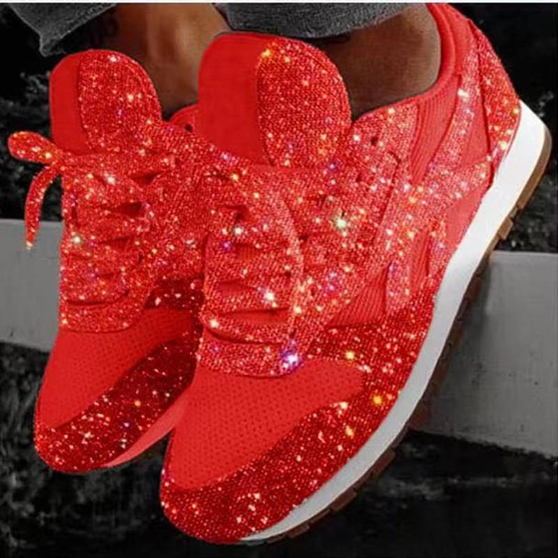 De haute qualité à bas prix Femmes Chaussures en cuir de luxe de Sneaker bas en haut Courir avec Formateurs Paillettes Automne Lacets Casual