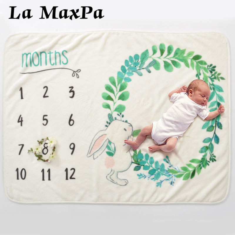Top Fashion Monthly Milestone Blanket for Baby Boy Girl I Cotton Muslin Swaddle I Baby Age Blanket I Newborn Growth Blanket For Photos Pictures 120 X 150 cm