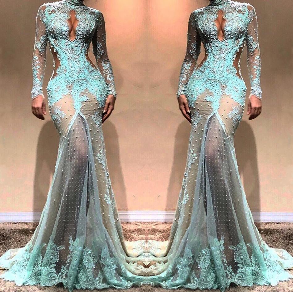 12 High Neck Wunderschöne Lange Ärmel Meerjungfrau Abendkleider  Durchsichtig Spitze Formale Abendkleider Cutaway Side Celebrity Kleider  BC12