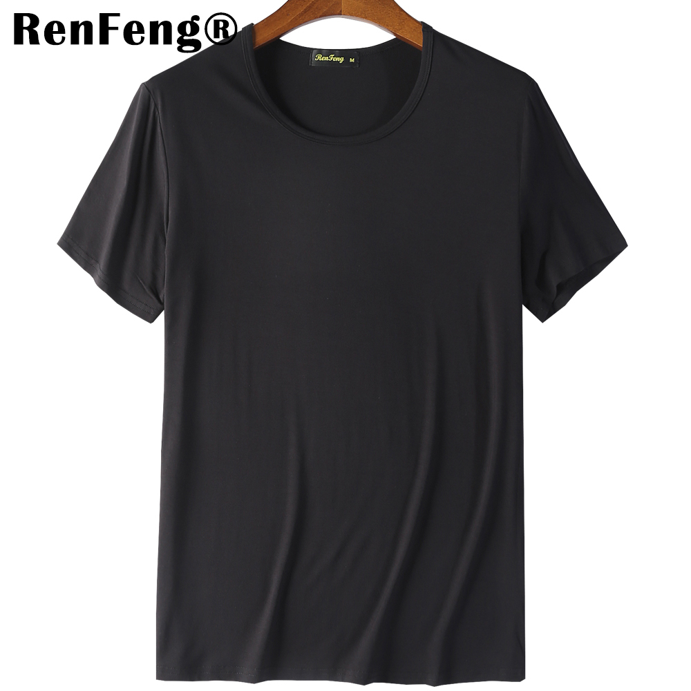 2018 Cool T Shirt Men 95% Bamboo Fiber Hip Hop Basic Blank White T-shirt For Mens Fashion Tshirt Summer Top Tee Tops Plain Black (6)