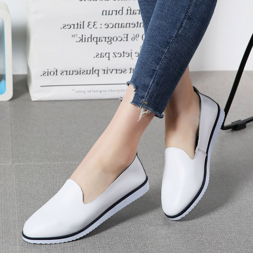 Dress Shoes Muqgew Women's Solid Pointed Toe Leather Slip On Ladies Shallow Casual Low Heels Ankle Loafer Footwear Work Lady New 2019