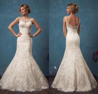 Wholesale 2017 New Amelia Sposa Wedding Dresses Scoop Neck Mermaid Chapel Train Tulle Bride Dresses Robe de mariage Vintage