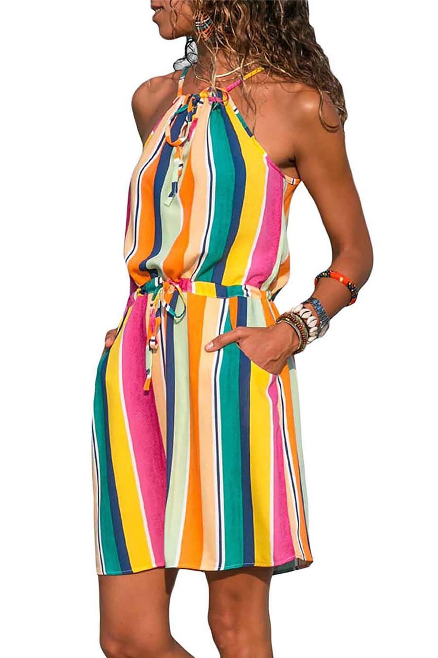 Gladiolus Chiffon Women Summer Dress Spaghetti Strap Floral Print Pocket Sexy Bohemian Beach Dress 2019 Short Ladies Dresses (35)
