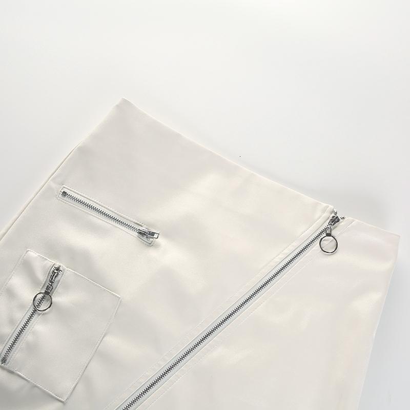 9Sweetown White Korean Style Skirts Womens Street Style A Line Skirt Summer High Waist Vogue Steampunk Leather Short Skirt