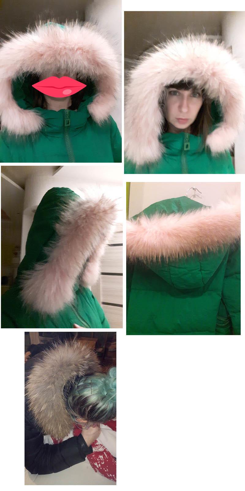 natural raccoon fur collar hoody trim (5)