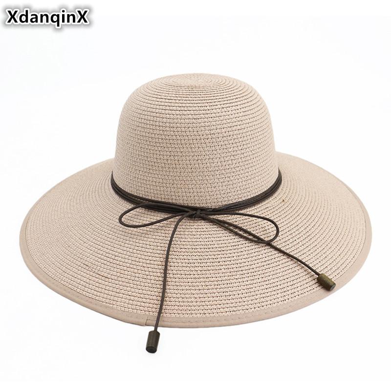 Sun Hat for Women Classic Panama Cap Fodora Chic Summer Spring Beach Visor Brief Solid Straw Hat Brim Headwear Bone