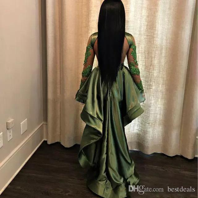 African Olive Green Black Girls High Low Prom Dresses 2018 Sexy See Through Appliques Sequins Sheer Long Sleeves Evening Gowns