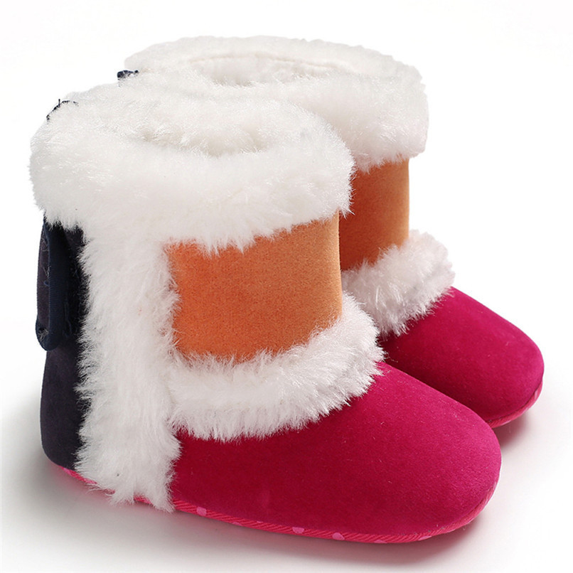 1 Pair Baby Girl Boots Baby Girl Splicing Soft Sole Snow Boots Soft Crib Warm Shoes Toddler winter Boots bota infantil D10 (15)