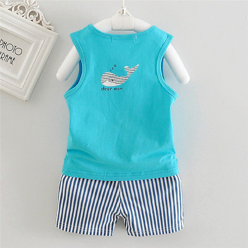 2PCS Baby Sets Newborn Baby Boys Girls Sleeveless Cartoon Whale Print Top+Striped Shorts Sets Clothes Suit For 6-24M M8Y07 (1)
