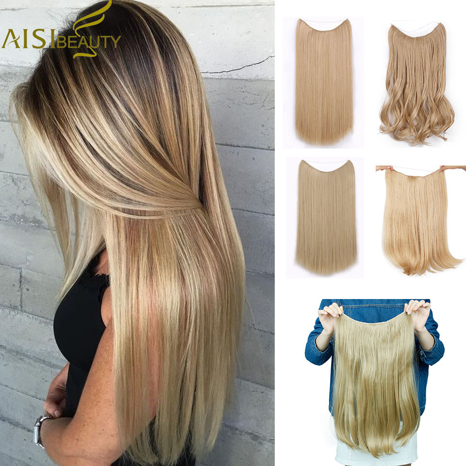 2019 Güzellik Uzun Sentetik Saç Isıya Dayanıklı Postiş Balık Hattı Düz Uzantıları Gizli Görünmez Hairpieces