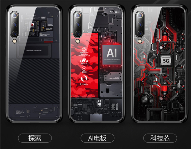 Aixuan Glass Case For Xiaomi mi 9 Mi9 Explorer Xiaomi mi 9 SE Case painted Tempered Glass Silicon Protective full Cover Cases (7)