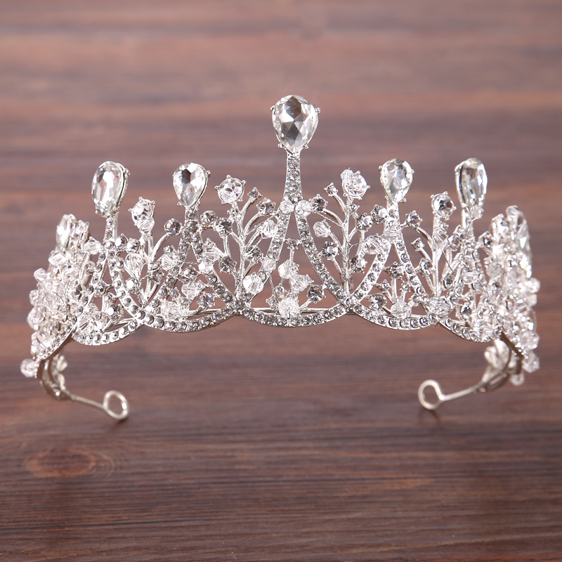 Hair-Jewelry-Vintage-Silver-Crystal-Tiara-Prencess-Wedding-Crown-Handmake-Bride-Hair-Accessories-Wedding-Jewelry-Accessories