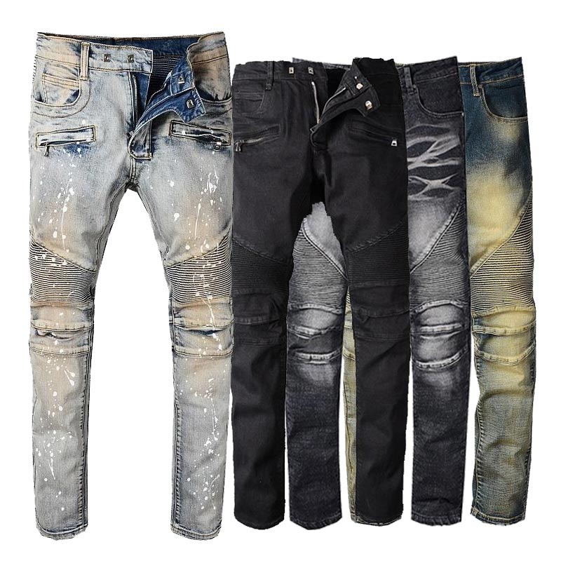2019 Mens Jeans Distressed Ripped Jeans Knee Applique Patchwork Denim Trouser
