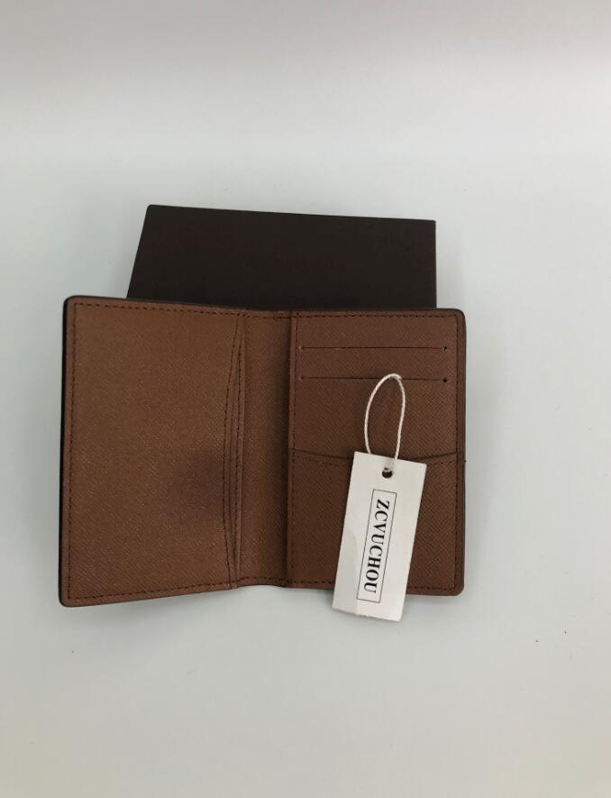 Brown Soldi Portafoglio Porta carte di credito Uomo Vera Pelle di alta qualità borsa di marca