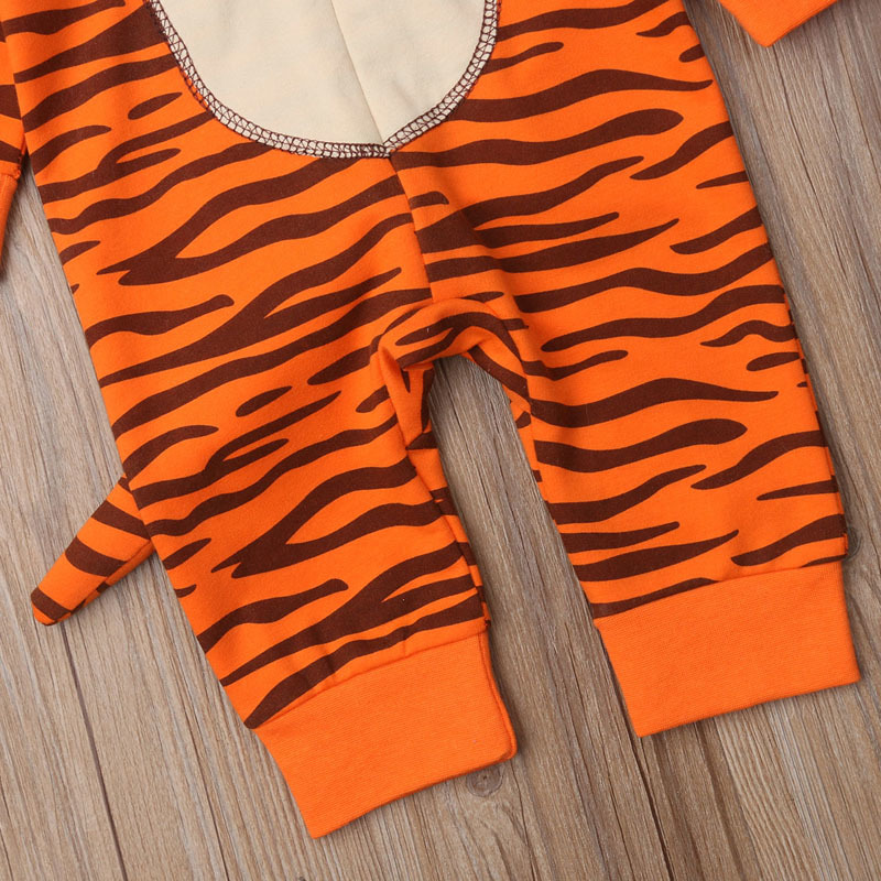 Cute Unisex Baby Clothes Tiger Rompers With Tail Animal One Piece Jumpsuit Long Sleeves Zipper Hooded Playsuits Outfits Clothes J190524
