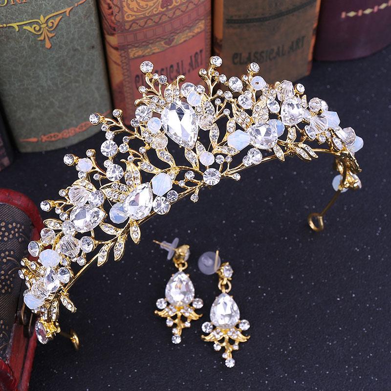 Silver Clear Crystal Leaf Cubic Zircon Crown Wedding Tiara CZ Bridal Queen Princess Rhinestone Pageant Prom Crown tiara de noiva