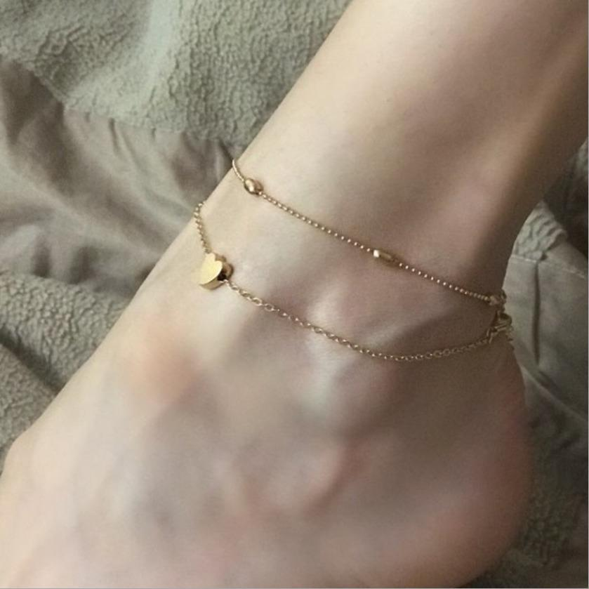 Anklets Jewelry For Women New Fashion Bohemia High Quality Gold Plated Alloy Heart Beads Chain Bracelets