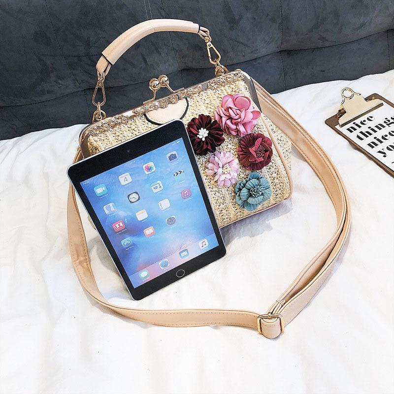 Women Pearl Handbag INS Popular Female Summer Flower Straw Bag Lady Fashion Shoulder Bag Travel Beach Woven Crossbody Bag SS7220 (4)