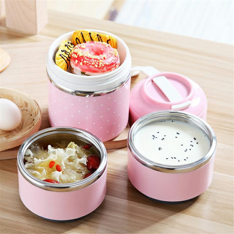 Mrosaa Japanese Portable Bento Lunch Box Thermo Leak-Proof Stainless Steel Cute Food Box Container Kids Picnic School Hot Sale D19010902