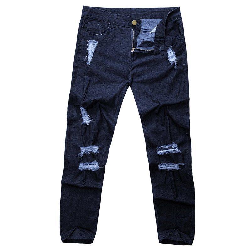 Nibesser 2019 Jeans Skinny Homens Sexy Rasgado Buraco Estiramento Calças Jeans Masculino Outono Reta Streetwear Lápis Jeans Plus Size Y190510