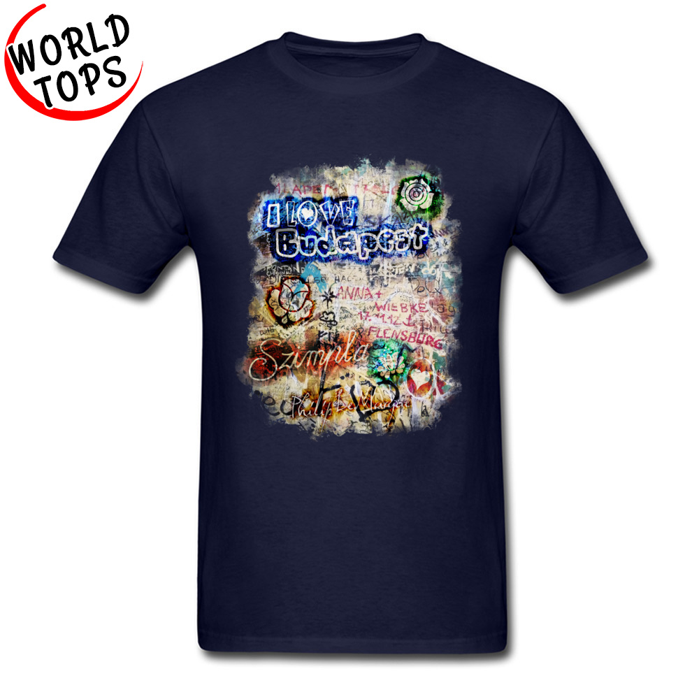 Graffiti Szimpla I Love Budapest Mother Day Pure Cotton Round Collar Tops T Shirt Funny Clothing Shirt Wholesale Top T-shirts Graffiti Szimpla I Love Budapest navy