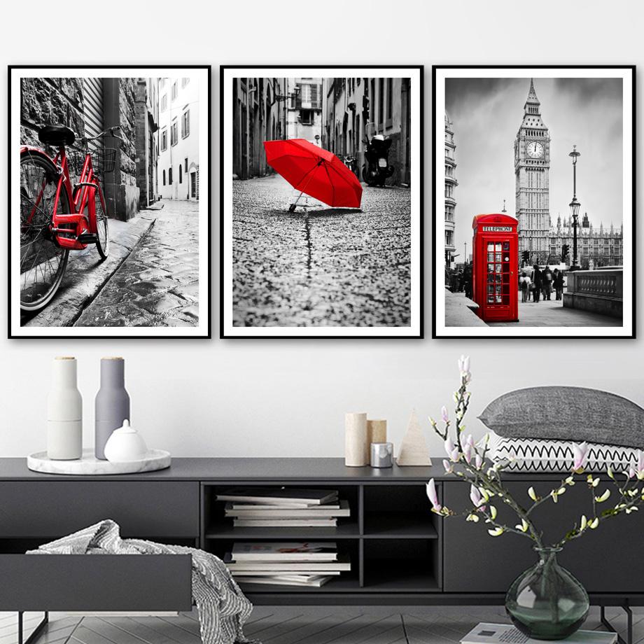 Salon Rouge Blanc Noir 3pcs / set moderne peinture murale mur de toile noir-blanc-rouge, rouge  vélo parapluie london paysage affiches mur photo pour le salon