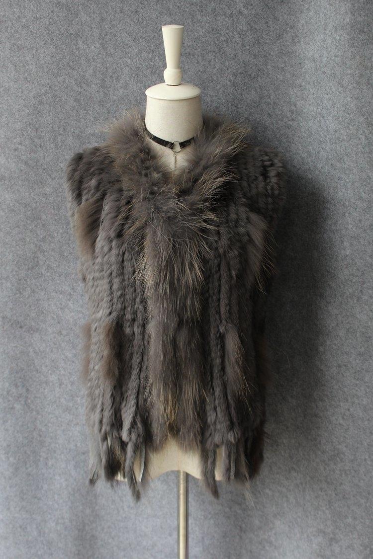 genuine real rabbit fur vest with raccoon fur collar (26)