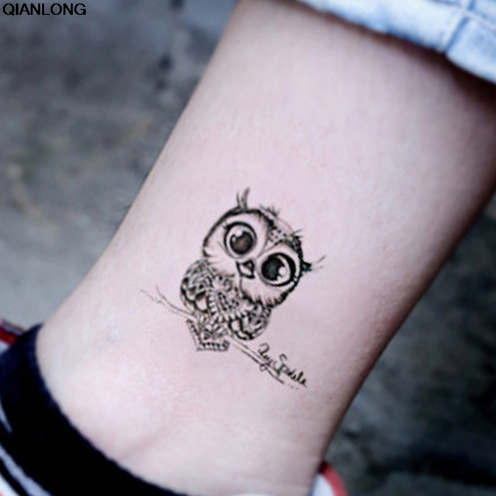Buho Tatuaje Mandala vintage búho negro brazo tatuaje falso sexy tatuajes temporales etiqueta wo  body art sh190724