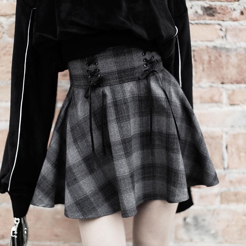 Femmes Vêtements S 2 femmes Lettre Gothique Ensembles de pièces Sweat-shirt gris taille haute régulières Plaid Mini-jupe filles Femme Set Outwear