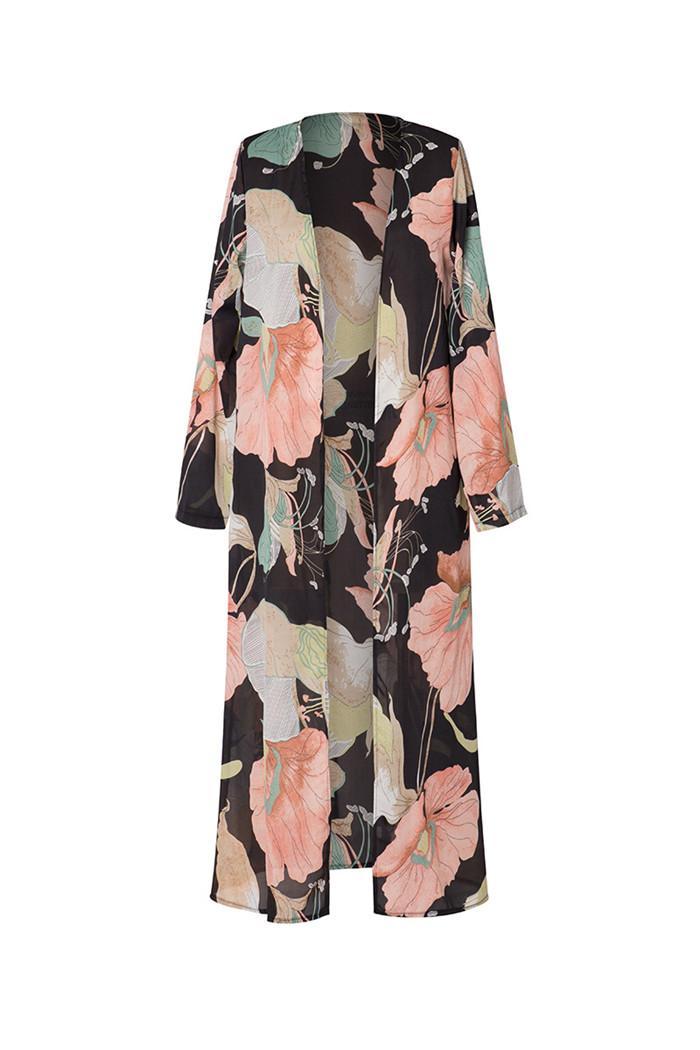 Le donne floreale chiffon manica Flare Boho Kimono Lungo Cardigan Giacca Cappotto Camicetta