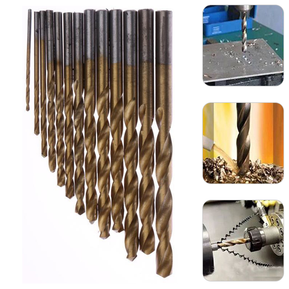 50pcs Drill Bit Set Titanium Coated HSS High Speed Steel Hex Shank Quick //#@#