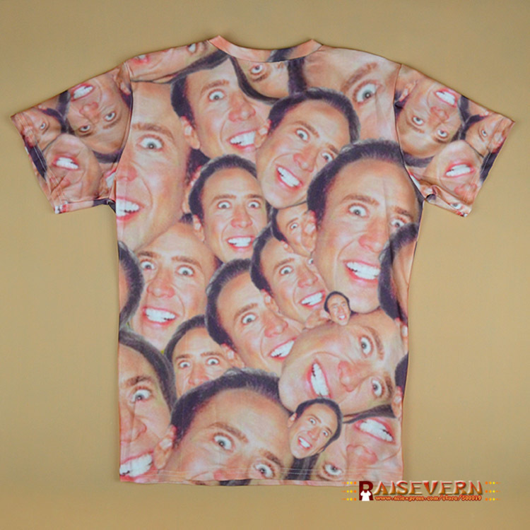 Hot Fashion Nicolas Cage Crazy Funny Print Stare At You 3d T-shirt For Men Women Casual 3d Top Tees S/M/L/XL/XXL/3XL Y18122401