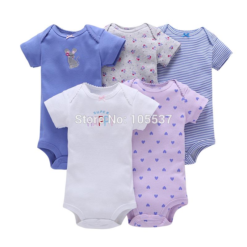 5PCS/PACK Toddler Infant NEW BORN BABY BOY GIRL CLOTHES cartoon short sleeves o-neck cartoon bodysuit Underwear Pajamas Clothes