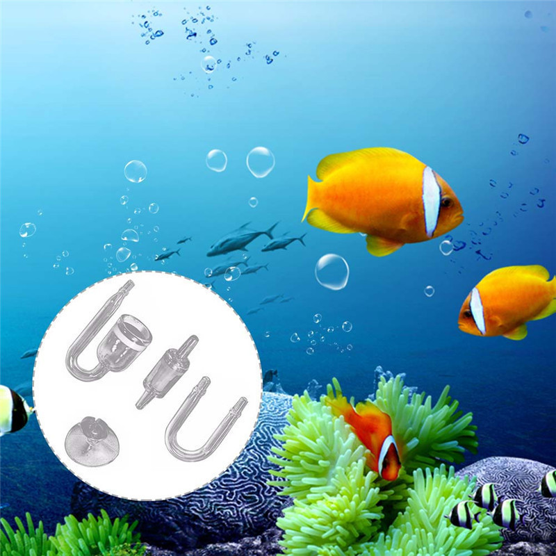 4-in-1 Aquarium U-shaped Tube Sucker Co2 Diffusion One-way Valve Carbon Dioxide Reactor Regulator Fish Tank Live Plant Atomizer