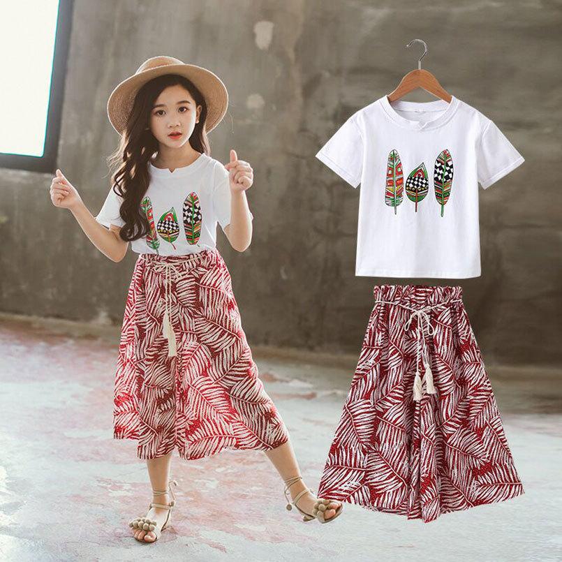 Nouveau Filles Vêtements Ensembles D'été T-shirt À Manches Courtes + pantalons Enfants Outwear Enfants Vêtements Costumes Q190523