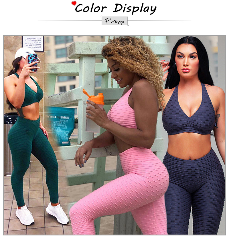 Womens Solid Sexy Thin Slim Athleisure Fitness Sets Thin Slim Sexy Tracksuits High Waist Workout Ioga Elastic (2)