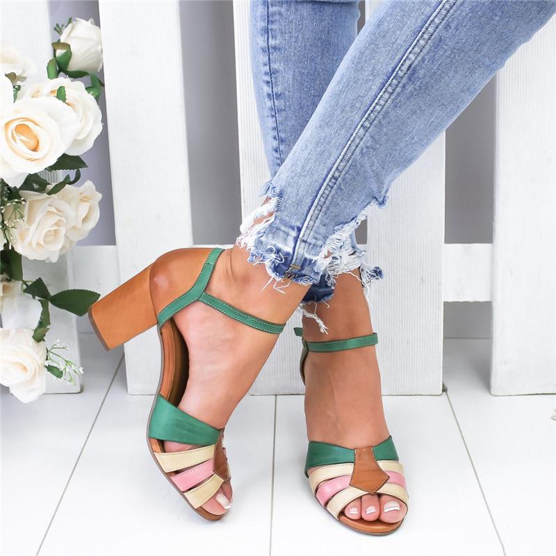 Laamei Sandalias Mujer Nice Strap Heel Peep Toe Chunky Heel Sandals Vintage Slip On Elastic Bandage Women Platform Sandals