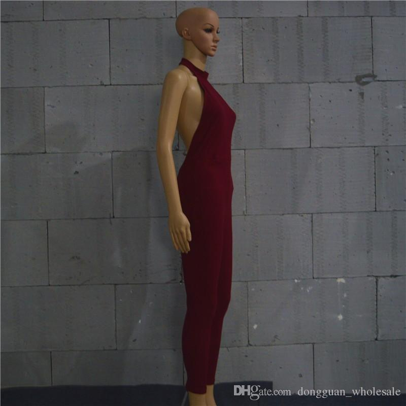 Wine Red Green Nice Summer Style Women Ribbed Rompers Womens Jumpsuit Sexy Open Back Sleeveless Halter Neckline Jumpsuits XD415