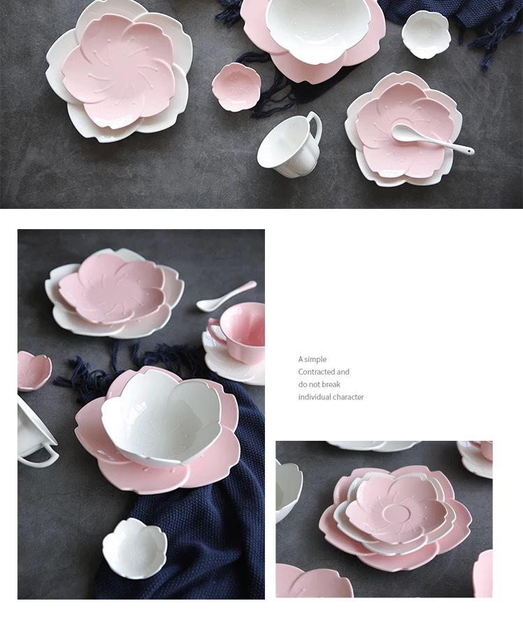 1pcs Ceramic pink sakura tableware plates dinner set chili sauce dish kitchen
