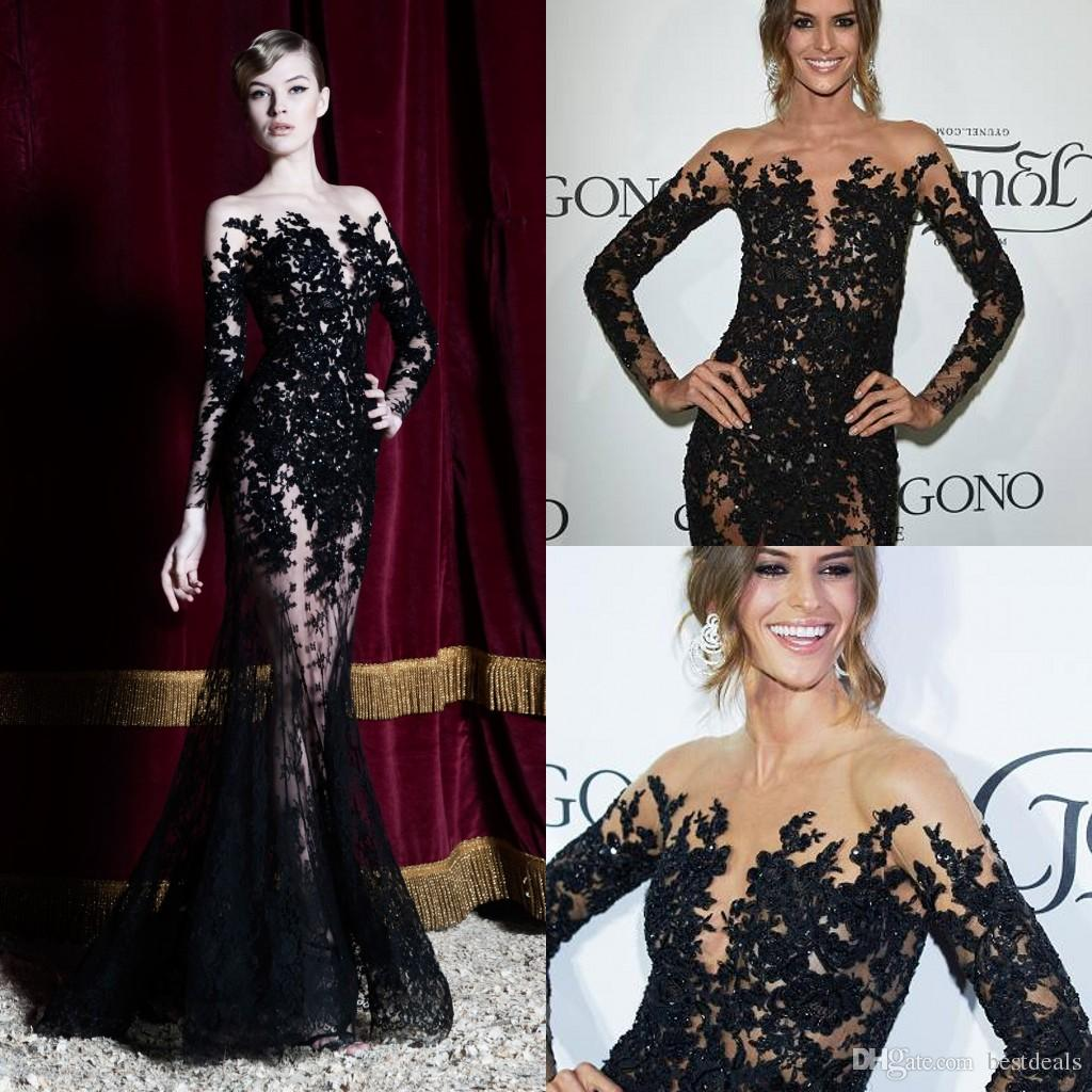 New Zuhair Murad 2016 Sheer Black Lace Mermaid Evening Dresses With Long Sleeves Crew Neck Floor Length Evening Gowns Formal Dresses BO9727