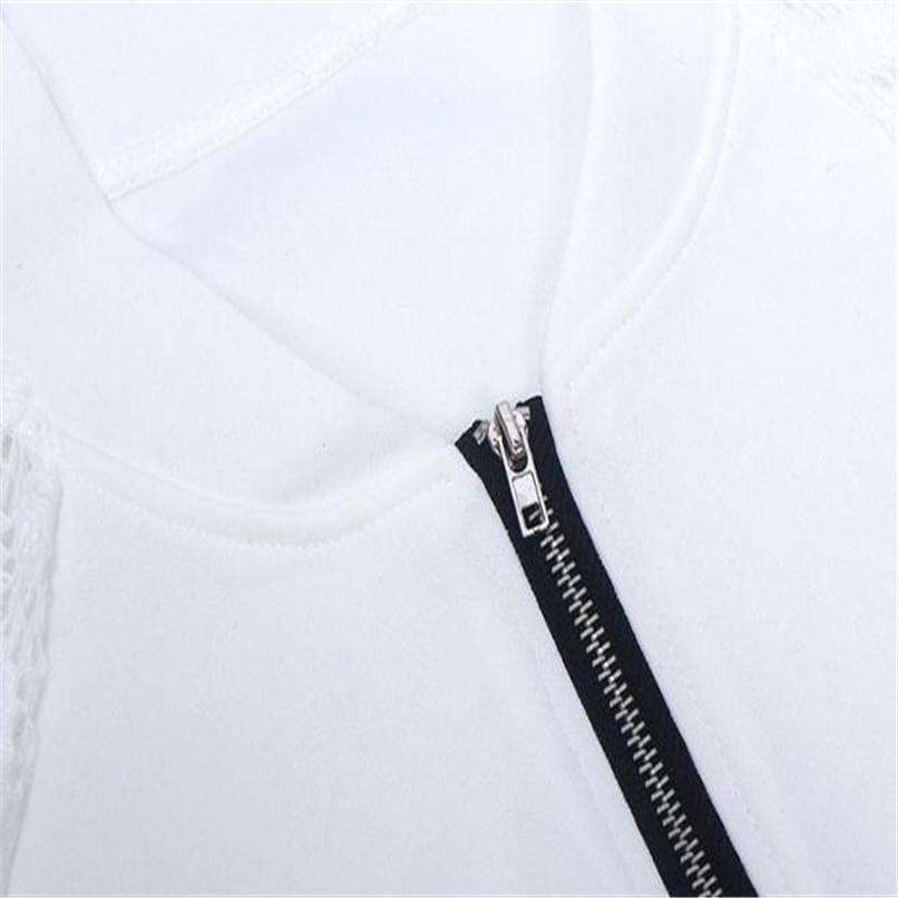 Lace Sleeve Women Basic Coats Long Sleeve Lace Patchwork Transparent Zipper Casual Slim Jacket Coat Bomber Jacket Outwear 40OC3114