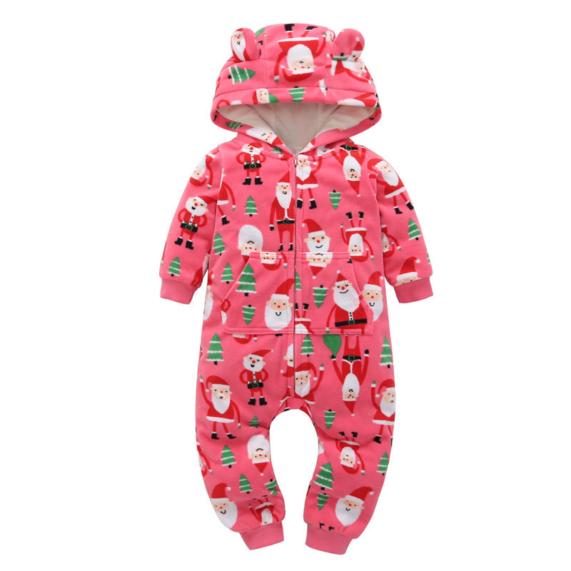 baby winter costume newborn clothes baby girl boy christmas clothes XMAS gift fleece cartoon hooded jumpsuit overalls for 6-24 m