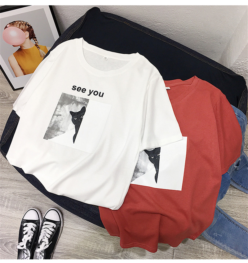 Tshirt Funny T Shirt Women Short Mouw 2019 Summer Tops Female Cute Cat Printed Casual Katoen Kwaii T Shirt